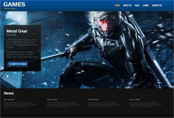 games html website theme