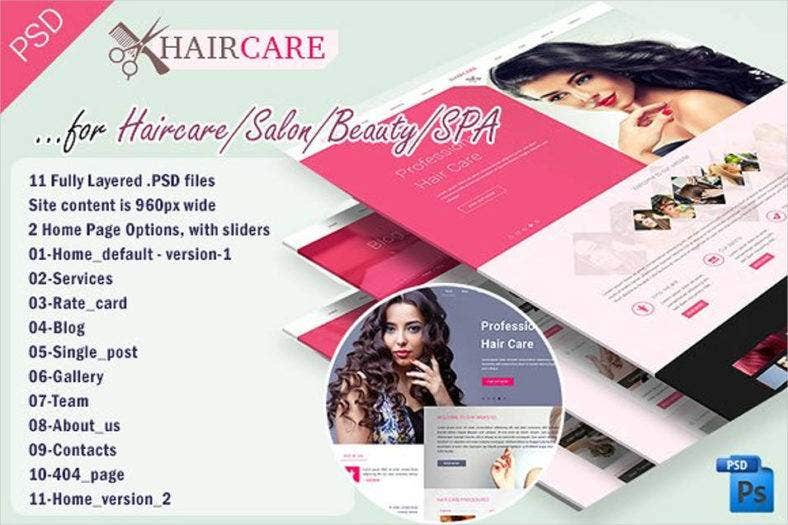 hair care salon beauty website template 788x525