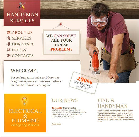 handyman services website template with 3d image