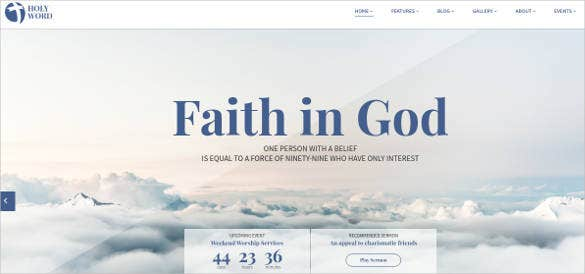 holy word church religion event website template