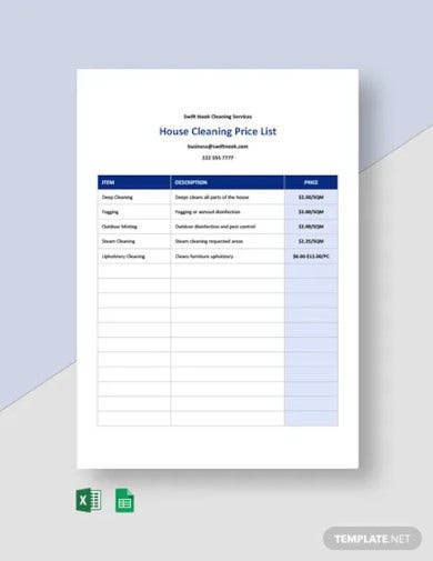 home cleaning services price list template