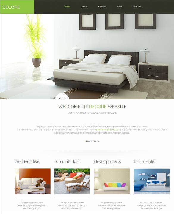 home decor website template in minimalist style