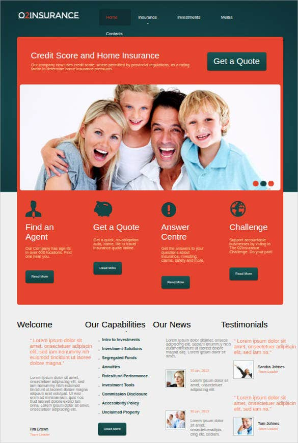 home insurance website themes template