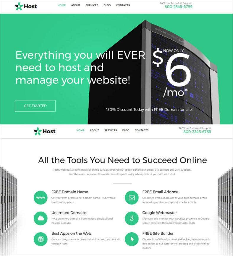 host responsive website template 788x864