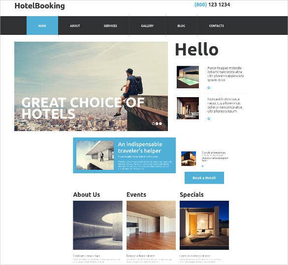 hotel booking website theme