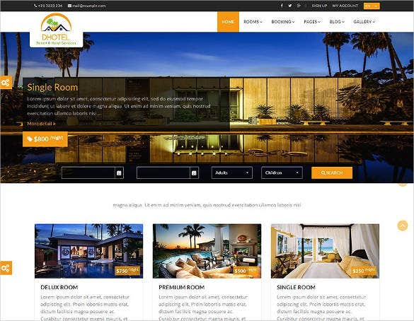 hotel resort website theme