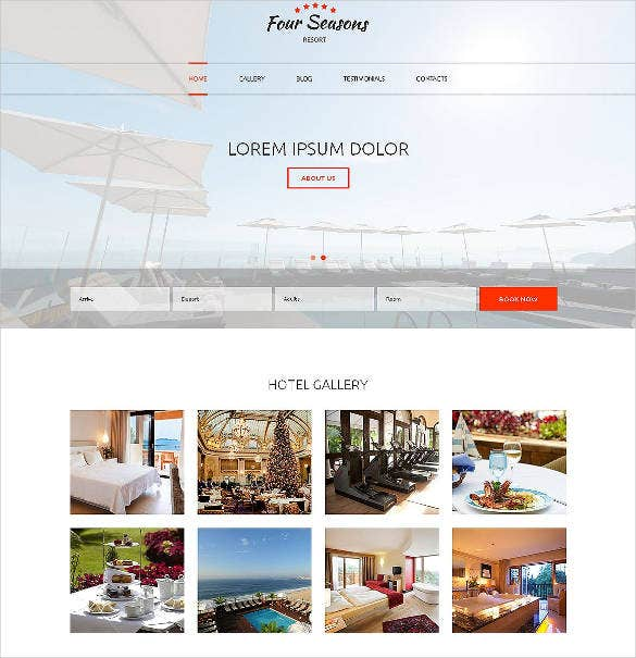 hotel responsive one page template