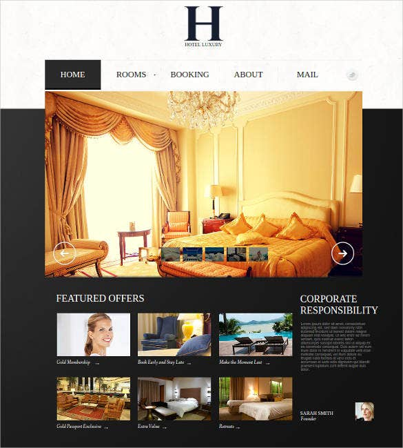 hotel website template with gallery