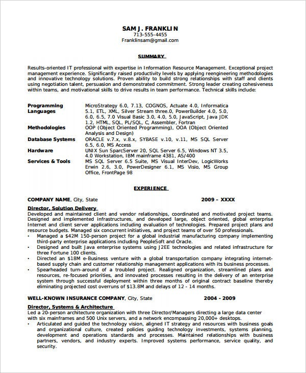 it project manager chronological resume