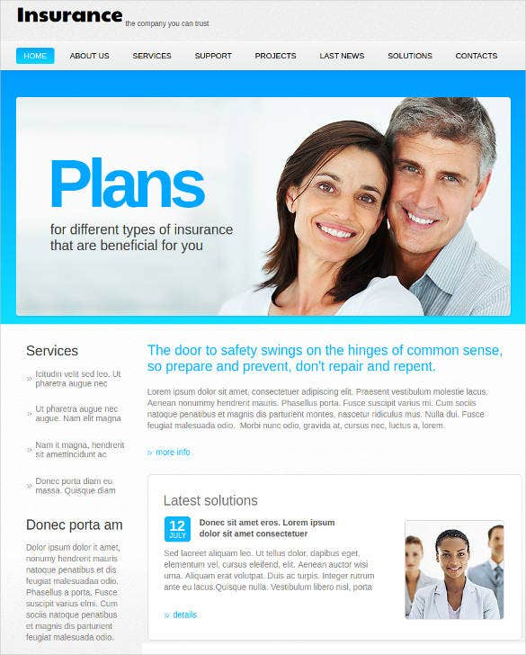 insurance plan website theme