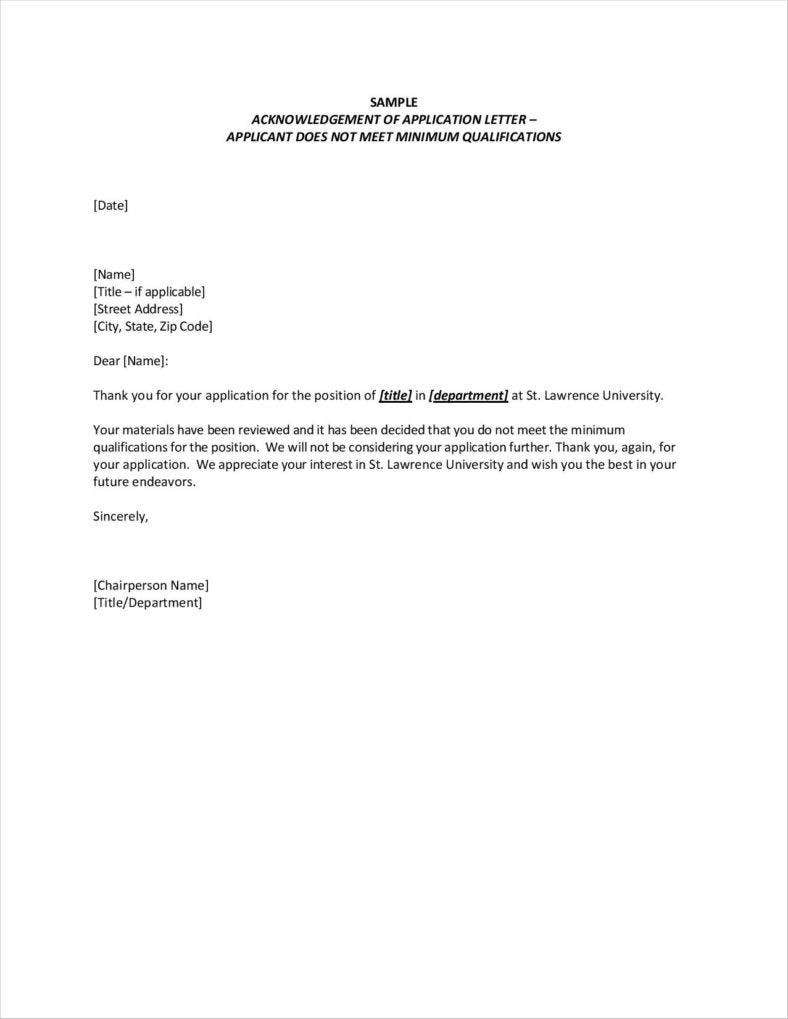 Job Acknowledgement Letter Templates  Samples Examples  Free