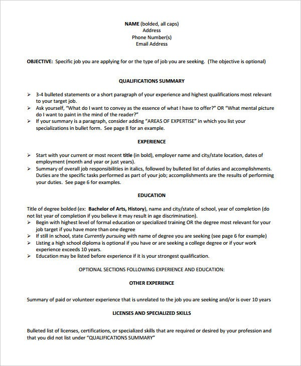 job seeking chronological resume