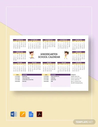 kindergarten school calendar template