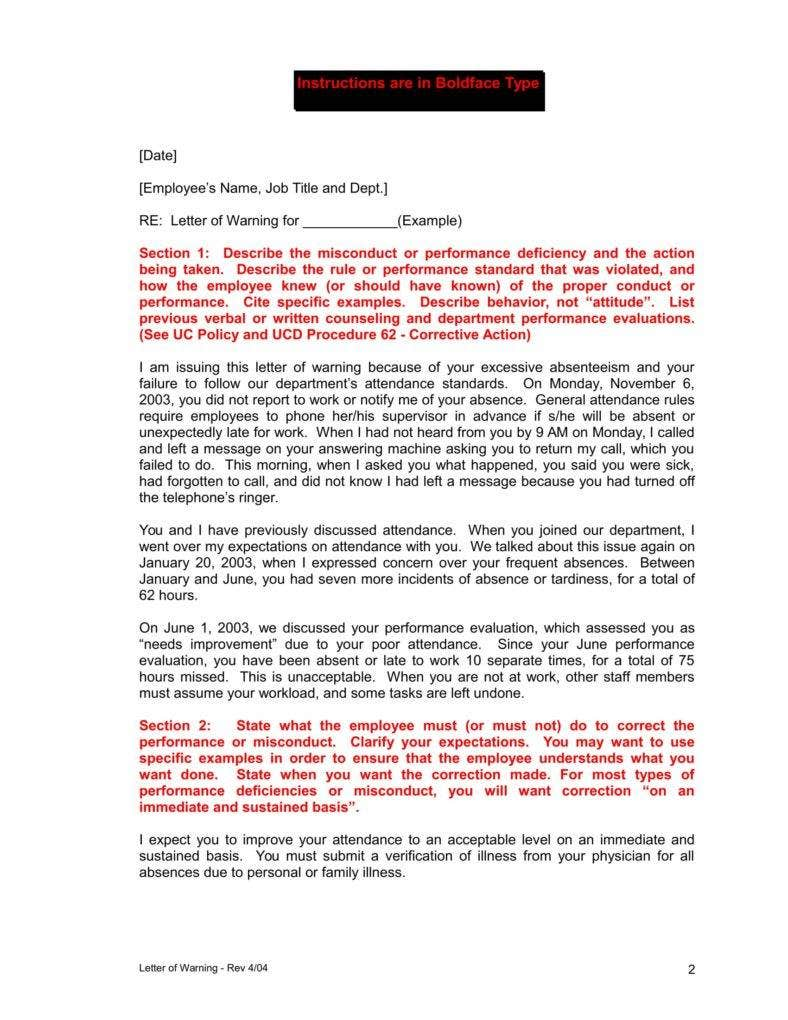 Employment warning letter template fieldstation employment warning letter template spiritdancerdesigns Images