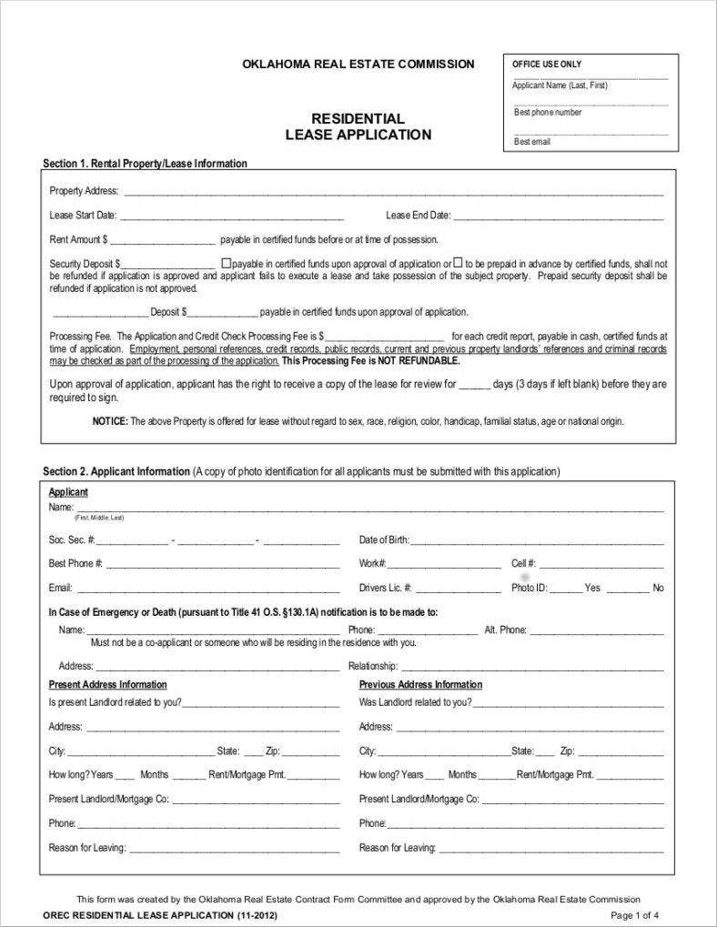 lease application sample form 788x1019
