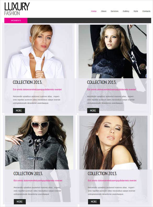 luxury fashion website theme