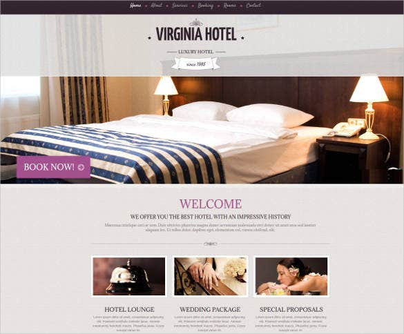 luxury hotel website theme