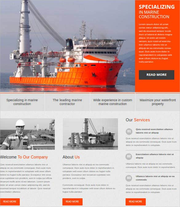 marine construction website template