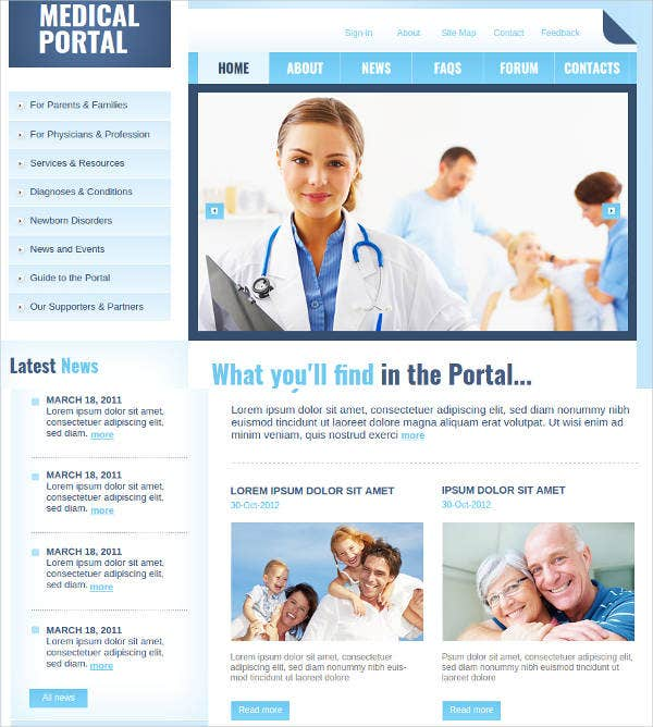 medical portal website template