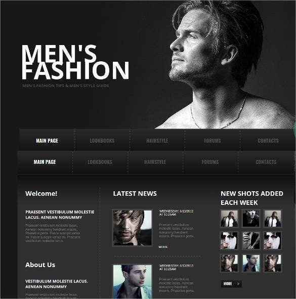 men fashion website template