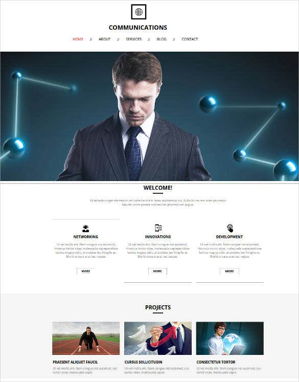 minimalist website for communication business service