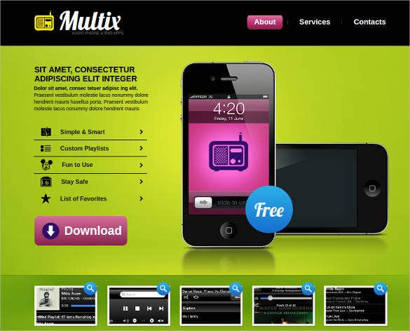 mobile software developer for website template