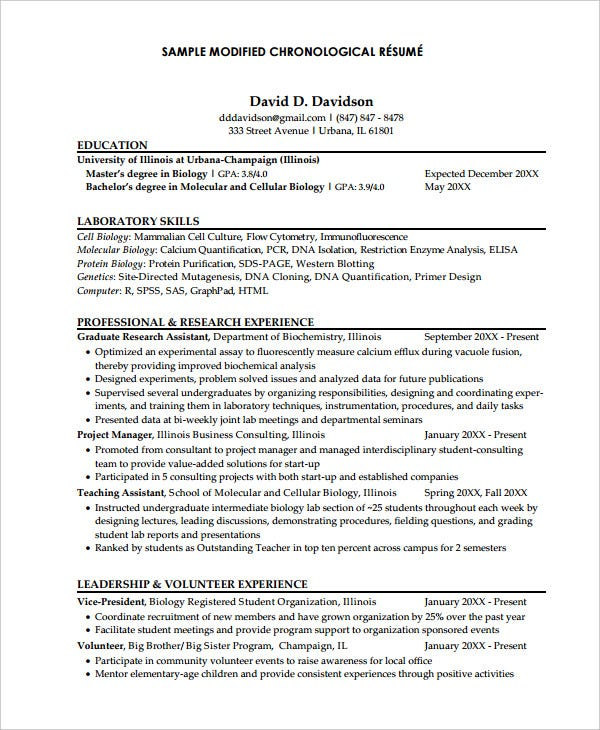 modified chronological resume