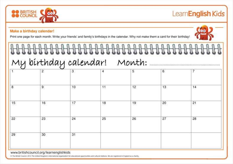 Birthday Calendars Free Samples Examples Formats Download