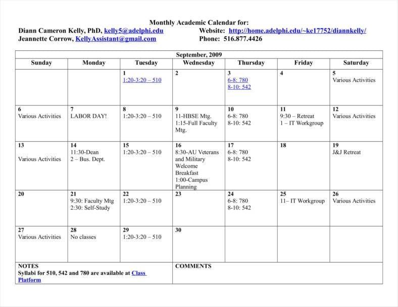 Classroom Calendar Templates Free Samples Examples Formats