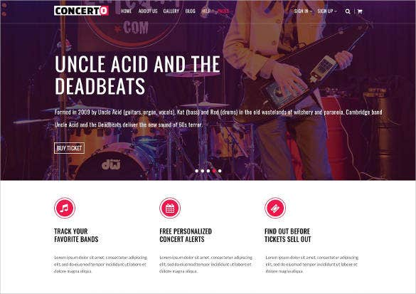 music event online ticket website template