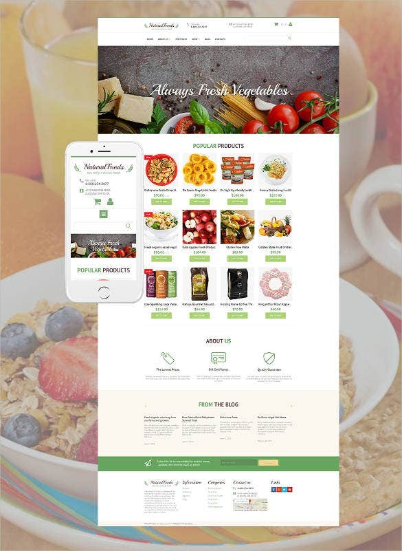 natural foods e commerce website theme