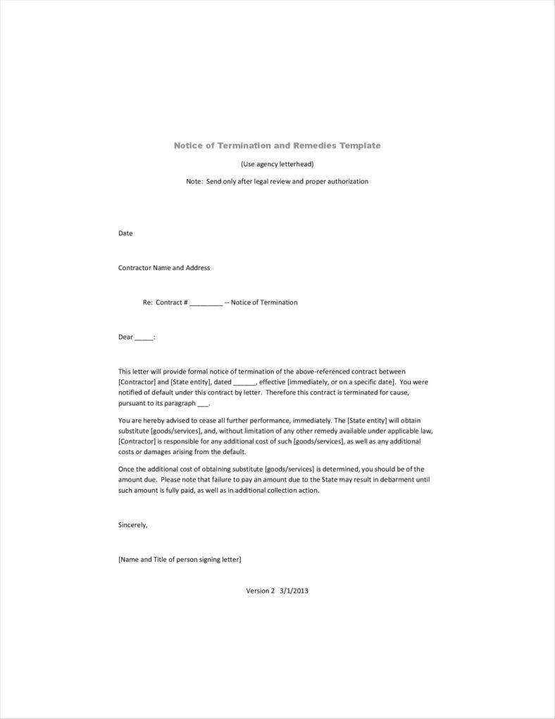 Agreement Termination Letters  Free Word Pdf Excel Format