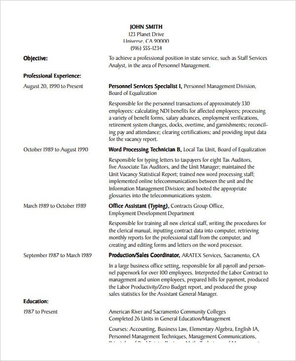 office assistant chronological resume