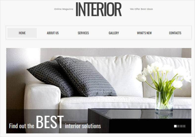 Online Interior Magazine Website Theme Free Demo Download