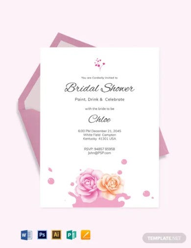 paint party bridal shower invitation template