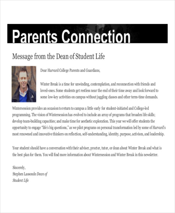 parents newsletter template