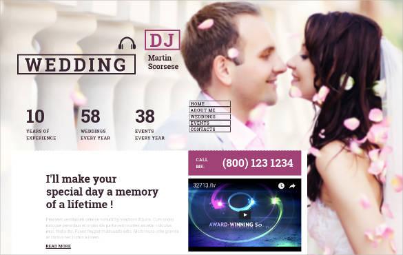 personalized wedding dj website theme