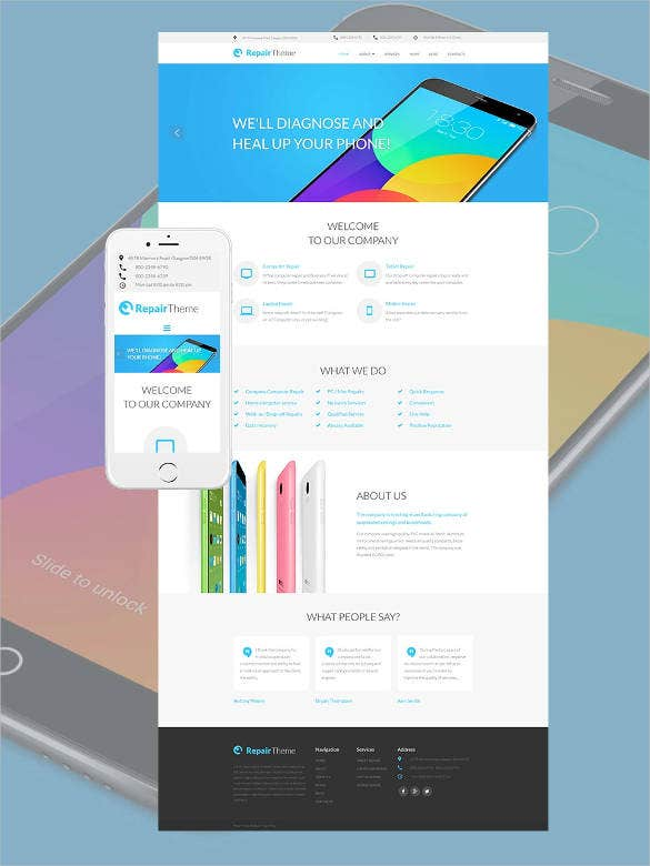 phone repair bootstrap design template