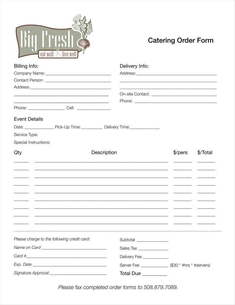 8 catering order form free samples examples download for Catering email template