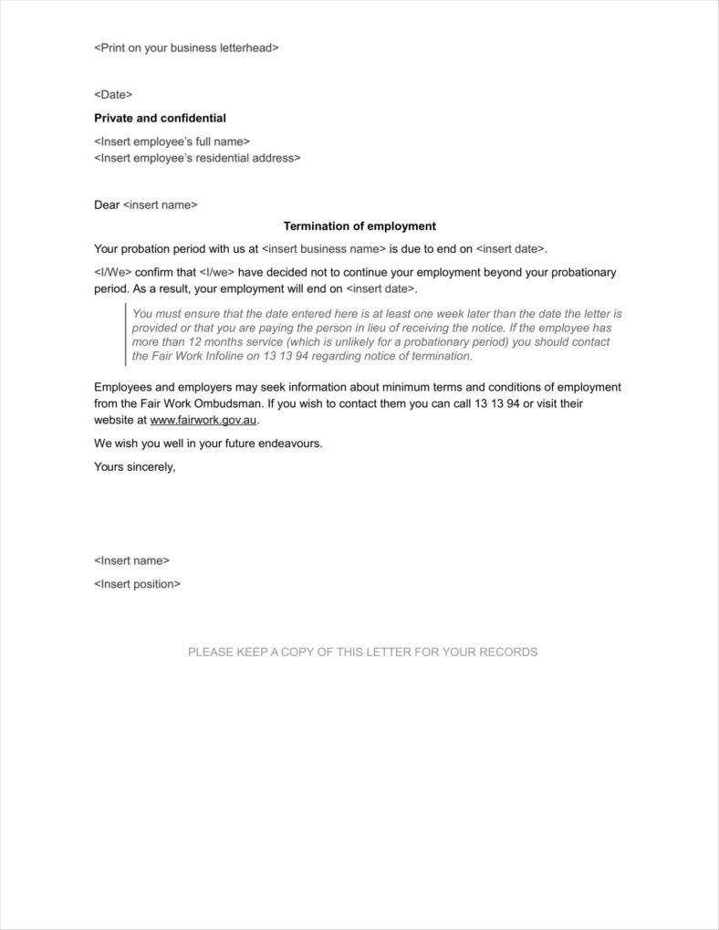 20 Agreement Termination Letters