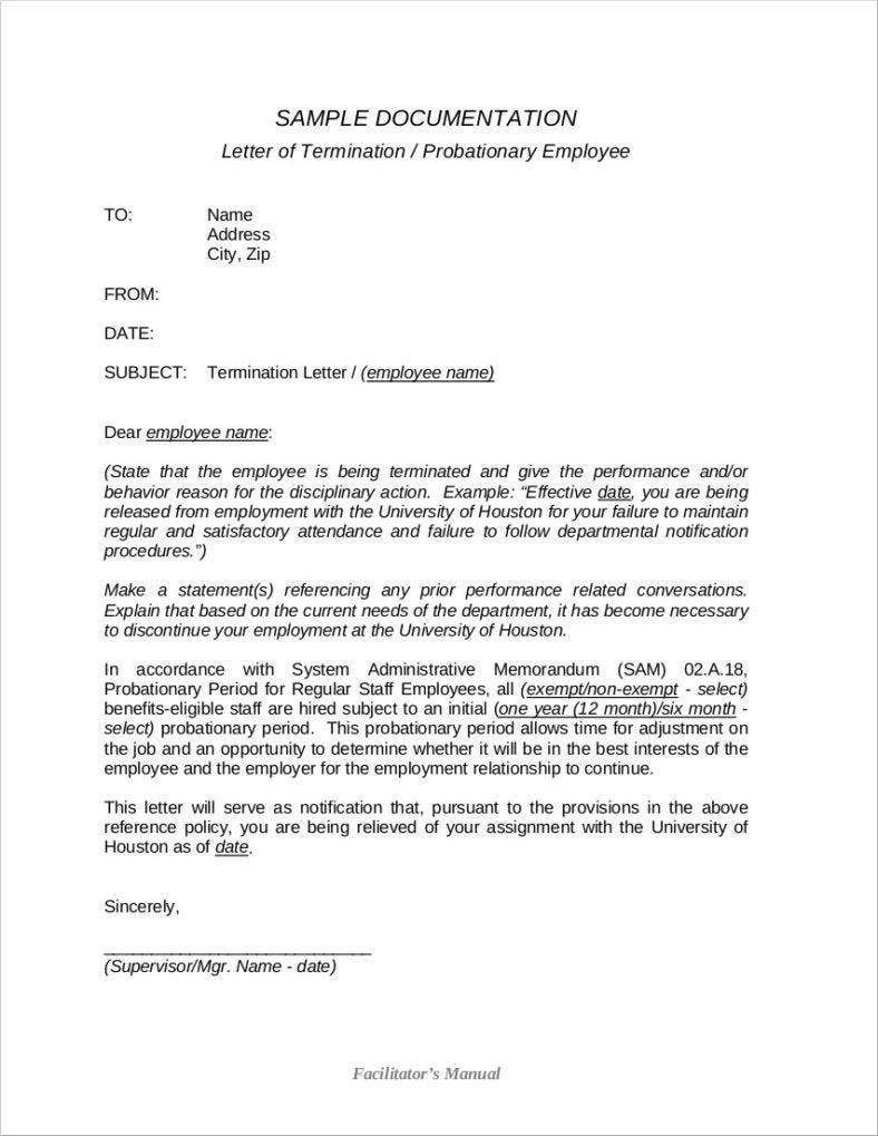 8 Work Termination Letter Free Samples Examples Formats