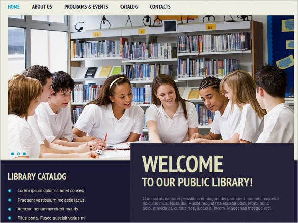 public library website theme template