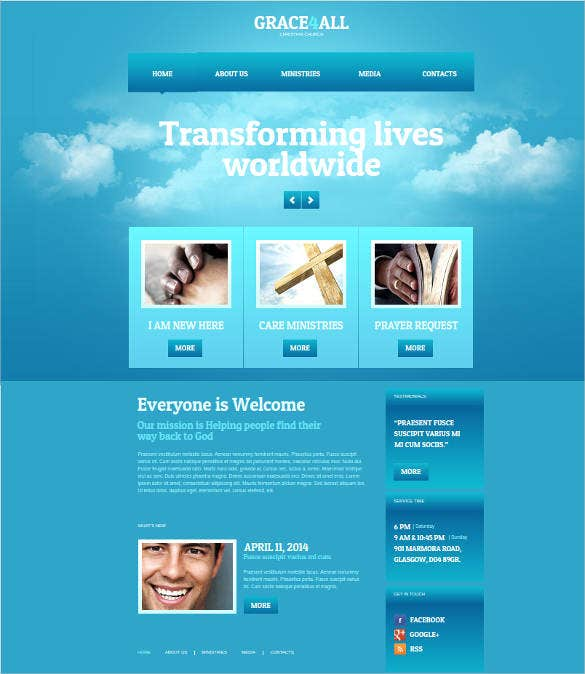 religious website design with background