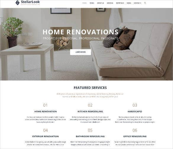 renovation interior design wordpress theme