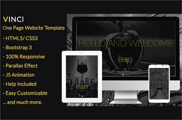responsive parallax one page bootstrap website