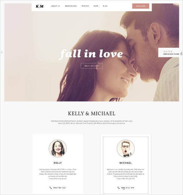 romantic wedding website design