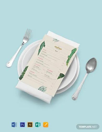 rustic bar menu template
