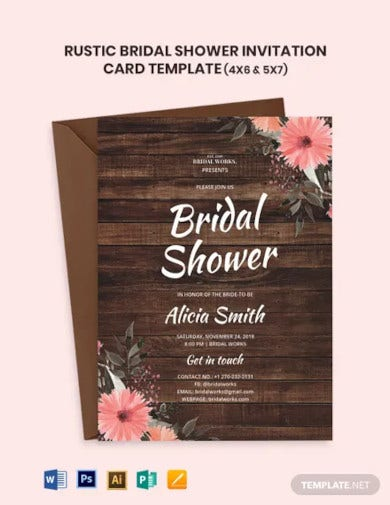 rustic bridal shower invitation card template
