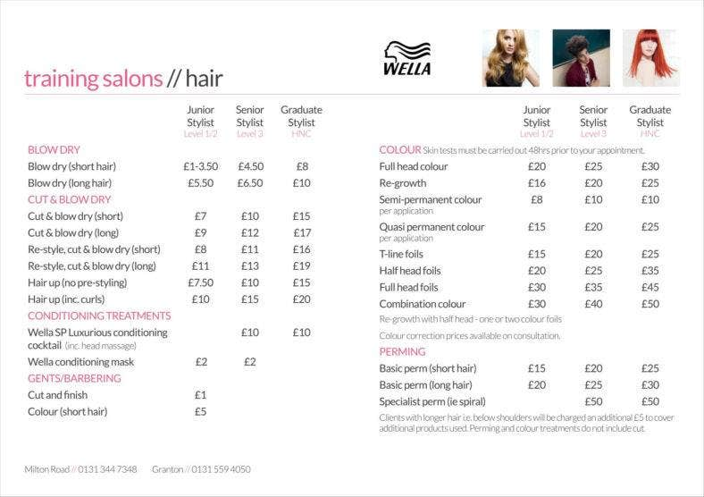 salon price sheet pdf template free download 033 788x556