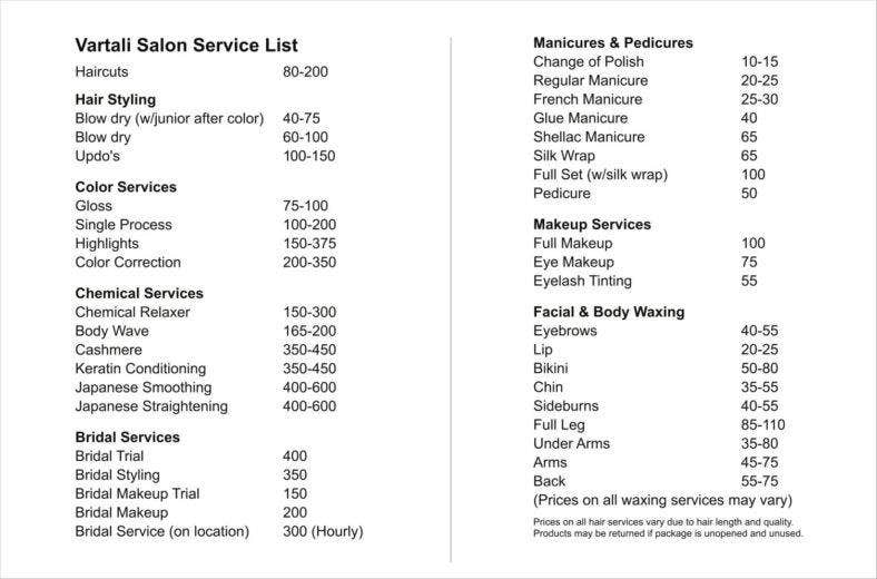 Service Price List Templates Free Samples Examples Formats